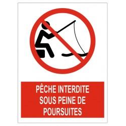 Panneau pêche interdite sous peine de poursuites