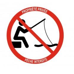 Panneau propriété privée pêche interdite