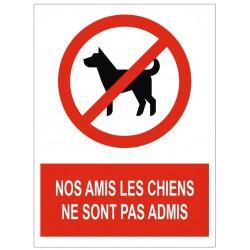 Panneau nos amis les chiens ne sont pas admis