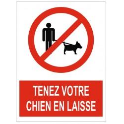 Panneau tenez votre chien en laisse