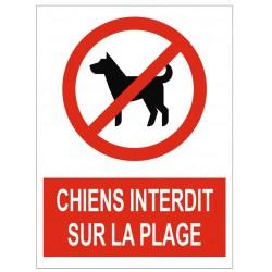Panneau chiens interdits sur la plage