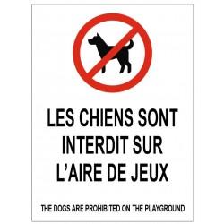 Panneau les chiens sont interdits sur l'aire de jeux