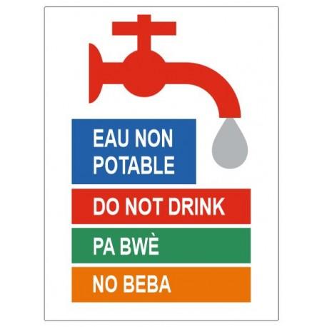 Panneau eau non potable différentes langues