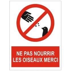 Panneau ne pas nourrir les oiseaux merci