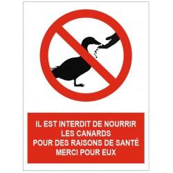 Panneau interdit de nourrir les canards pour des raisons de santé