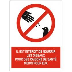 Panneau interdit de nourrir les oiseaux pour des raisons de santé