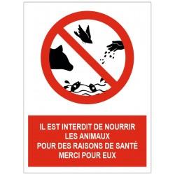 Panneau interdit de nourrir les animaux pour des raisons de santé