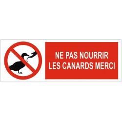 Panneau ne pas nourrir les canards merci