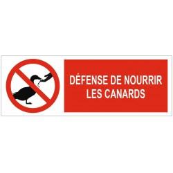 Panneau défense de nourrir les canards