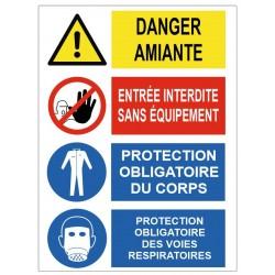 Panneau danger amiante entrée interdite sans équipement