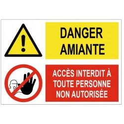 Panneau danger amiante accès interdit
