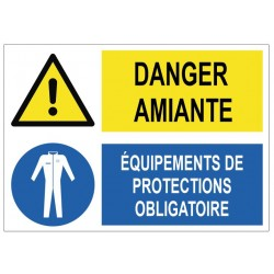 Panneau danger amiante équipements de protections obligatoire