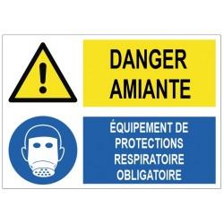 Panneau danger amiante équipements de protections respiratoire obligatoire
