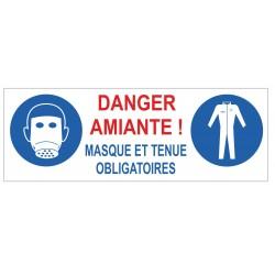 Panneau danger amiante masque et tenue obligatoire