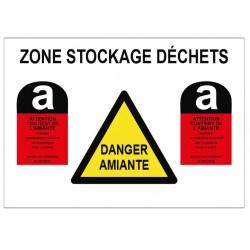 Panneau danger amiante zone de stockage déchets