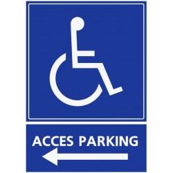 Panneau stationnement accès parking handicapés - direction gauche