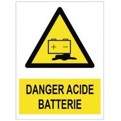 Panneau danger acide batterie