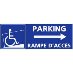 Panneau stationnement parking handicapé avec rampe d'accès