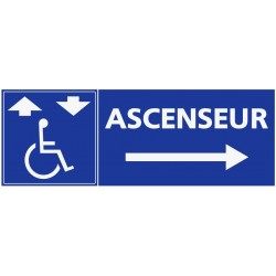 Panneau ascenseur handicapé - direction droite