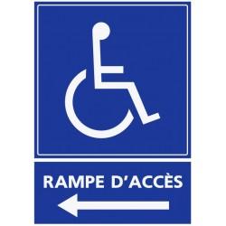 Panneau handicapé rampe d'accès - direction gauche