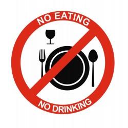 Panneau interdiction no eating no drinking
