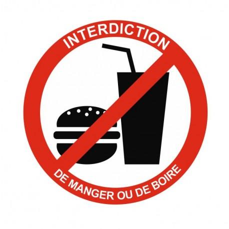 Panneau interdiction de manger ou de boire