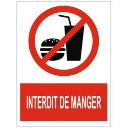 Panneau interdiction interdit de manger