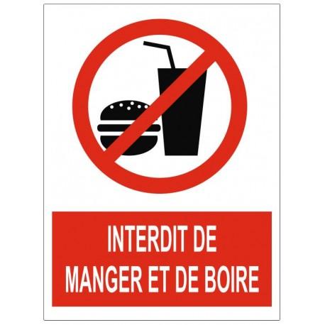 Panneau interdiction interdit de manger et boire