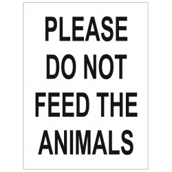 Panneau interdiction warning do not feed the animals