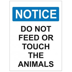 Panneau interdiction notice do not feed or touch the animals
