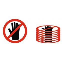 Panneau ou autocollant interdiction lot ne pas toucher