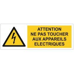 Panneau ou autocollant interdiction attention ne pas toucher aux appareils électriques