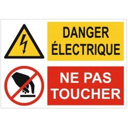 Panneau ou autocollant interdiction danger électrique ne pas toucher
