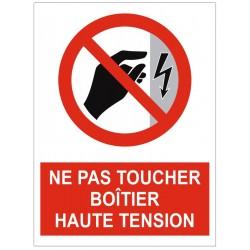 Panneau ou autocollant interdiction ne pas toucher boitier haute tension