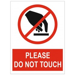 Panneau ou autocollant interdiction please do not touch