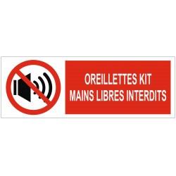 Panneau interdiction oreillettes kit mains libres interdits