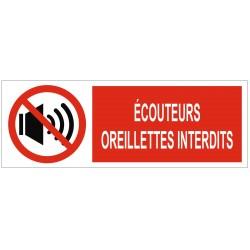 Panneau interdiction écouteurs oreillettes interdits