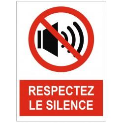 Panneau interdiction respectez le silence