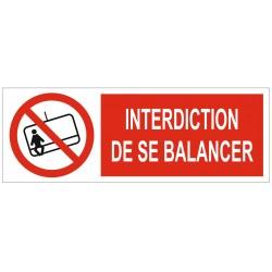 Panneau interdiction de se balancer