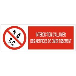 Panneau interdiction d'allumer des artifices de divertissement