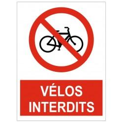 Panneau interdiction vélos interdits