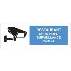 Autocollant restaurant sous surveillance vidéo