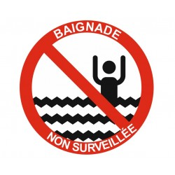 Panneau interdiction baignade non surveillée