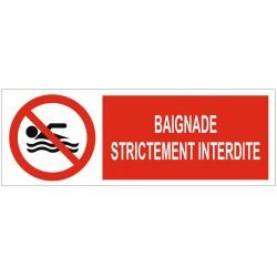 Panneau interdiction baignade strictement interdite
