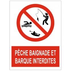 Panneau interdiction pêche, baignade et barques interdites