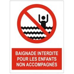 Panneau interdiction baignade interdite pour les enfants non accompagnés