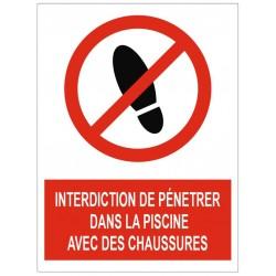 Panneau interdiction de pénétrer dans la piscine avec des chaussures