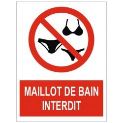 Panneau interdiction maillot de bain interdit