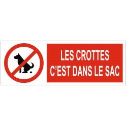 Panneau interdiction les crottes c'est dans le sac
