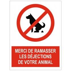Panneau interdiction merci de ramasser les déjections de votre animal